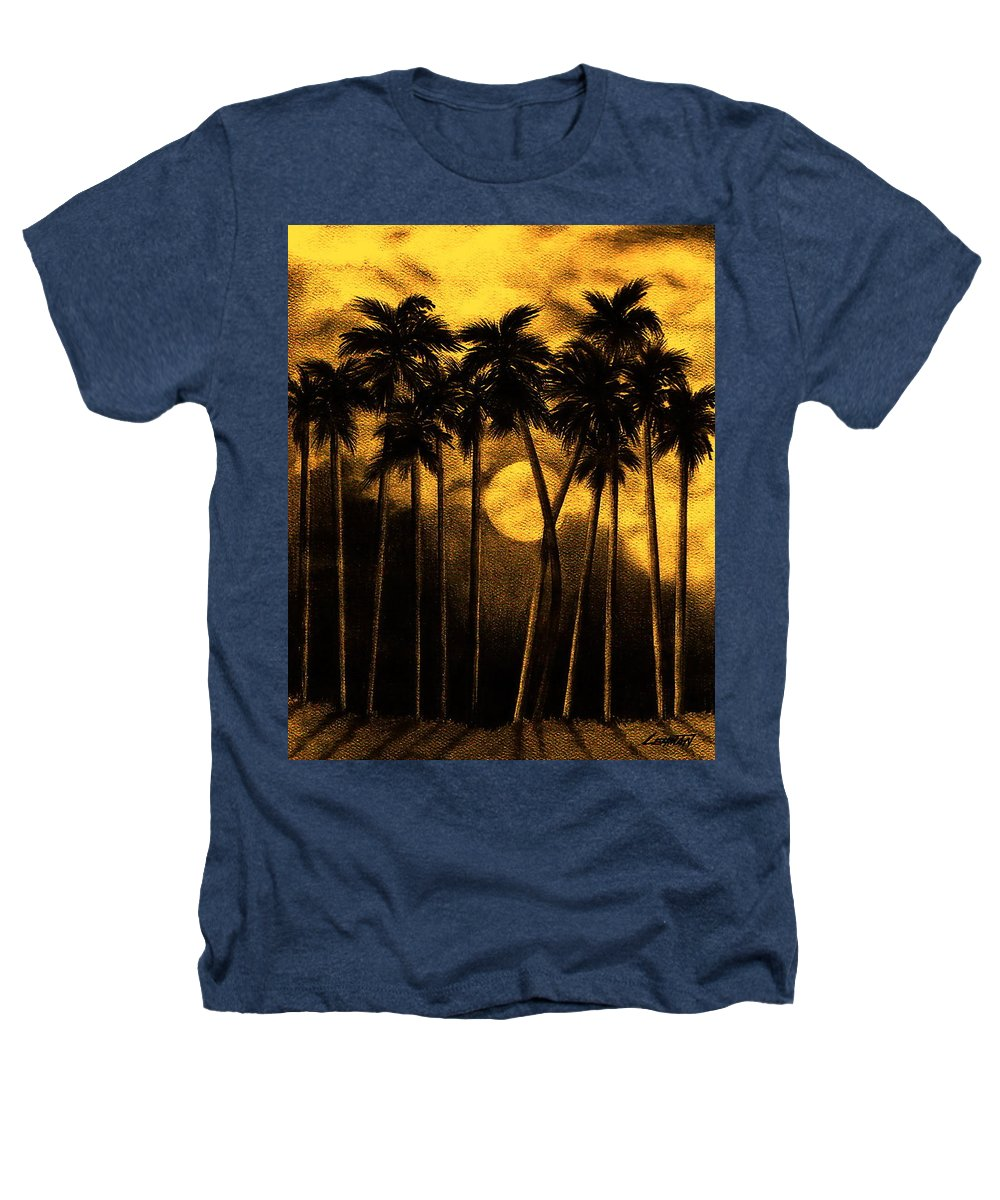 Moonlit Palm Trees In Yellow Heathers T-Shirt featuring the mixed media Moonlit Palm Trees In Yellow by Larry Lehman