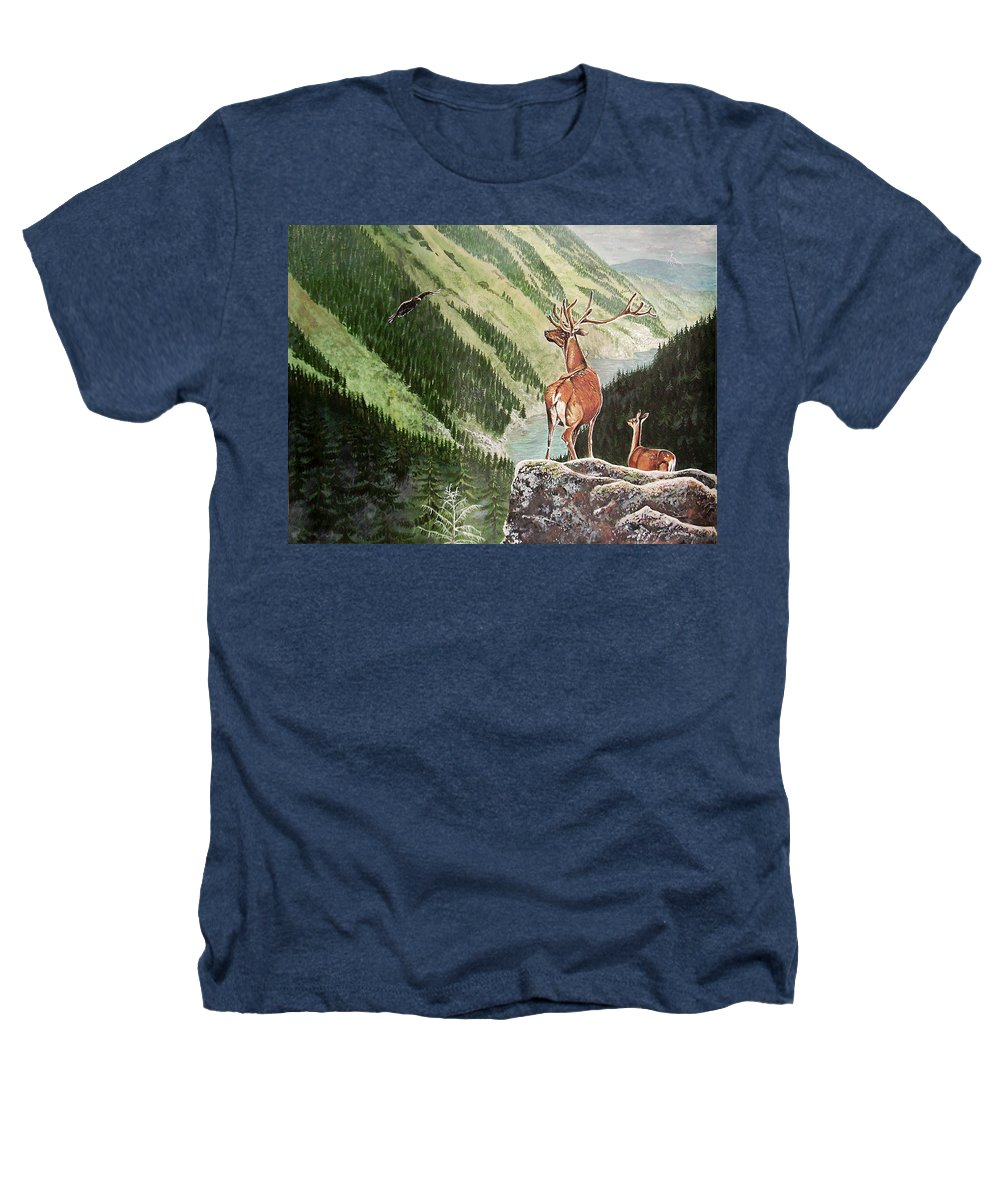 Deer Heathers T-Shirt featuring the painting Mountain Morning by Arie Van der Wijst