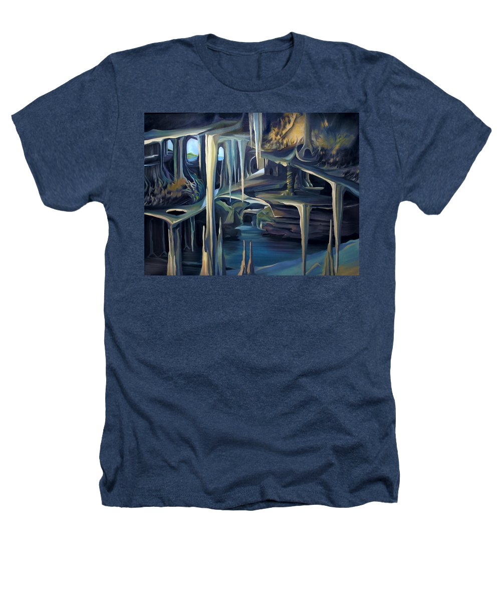 Mural Heathers T-Shirt featuring the painting Mural Ice Monks In November by Nancy Griswold