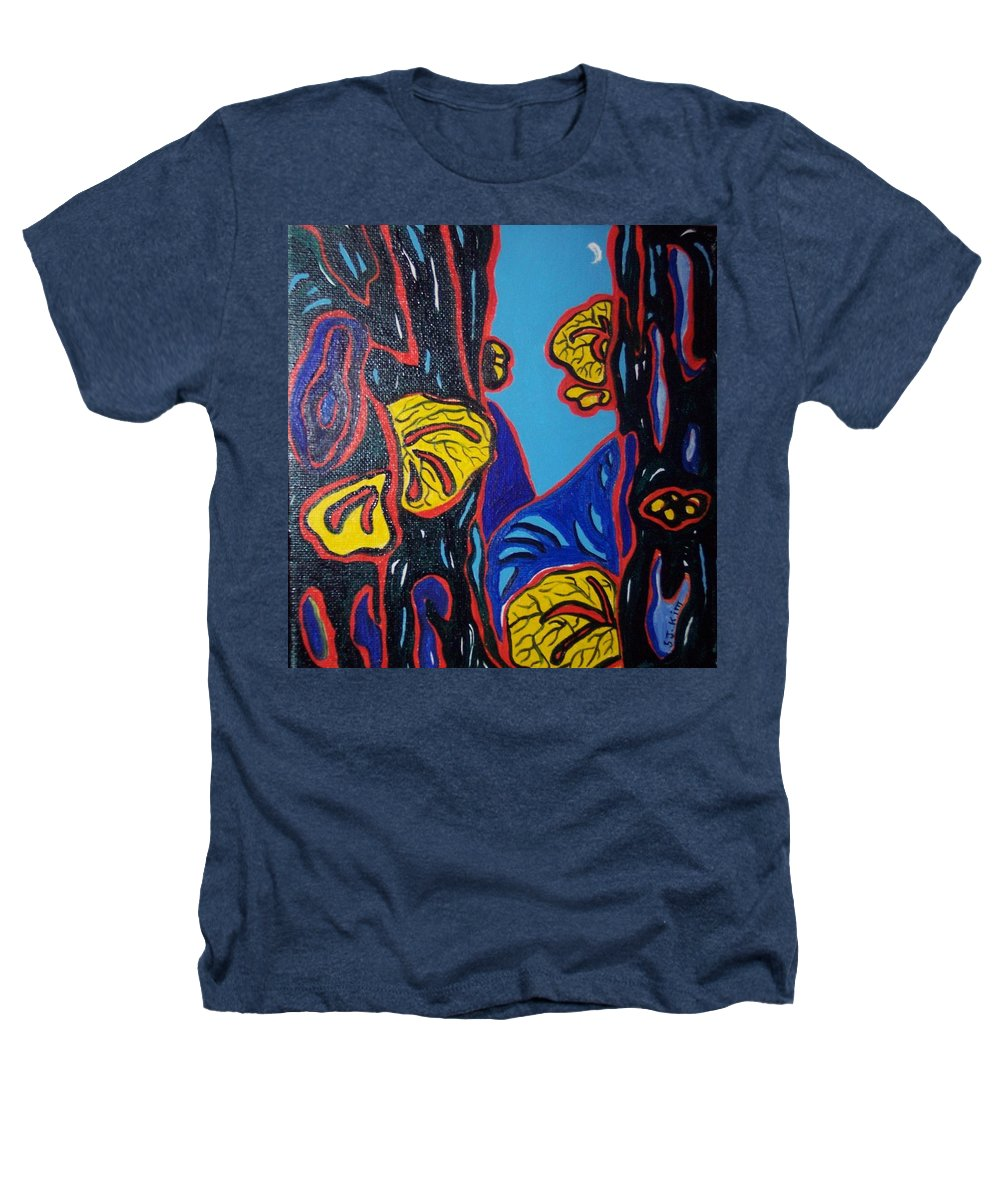 Abstract Paintings Heathers T-Shirt featuring the painting Mushroom On Trees by Seon-Jeong Kim
