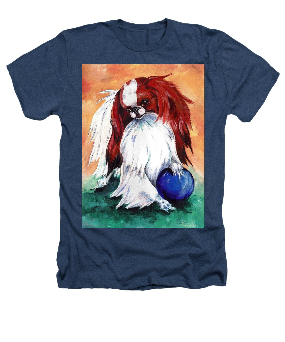 Japanese Chin Heathers T-Shirt featuring the painting My Ball by Kathleen Sepulveda