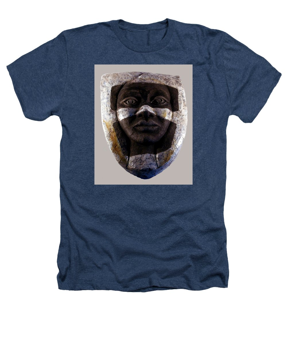 Ceramic Heathers T-Shirt featuring the relief My Veils I by Madalena Lobao-Tello