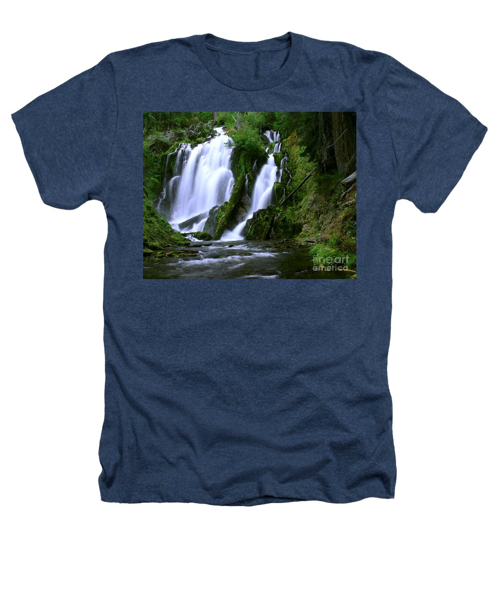 Waterfall Heathers T-Shirt featuring the photograph National Creek Falls 02 by Peter Piatt