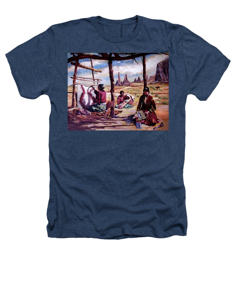 Native American Heathers T-Shirt featuring the painting Navajo Weavers by Nancy Griswold