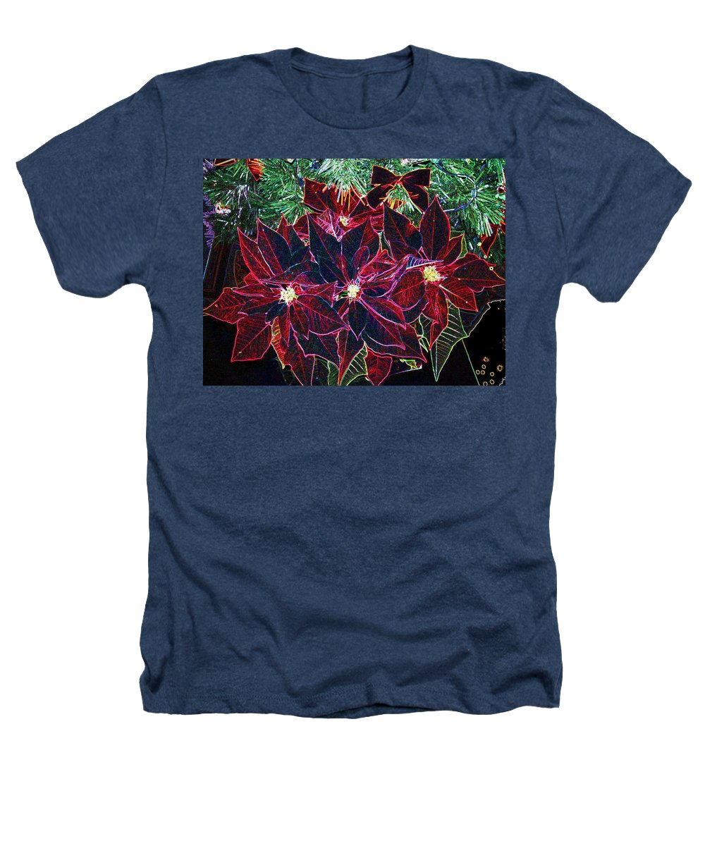 Flowers Heathers T-Shirt featuring the photograph Neon Poinsettias by Nancy Mueller