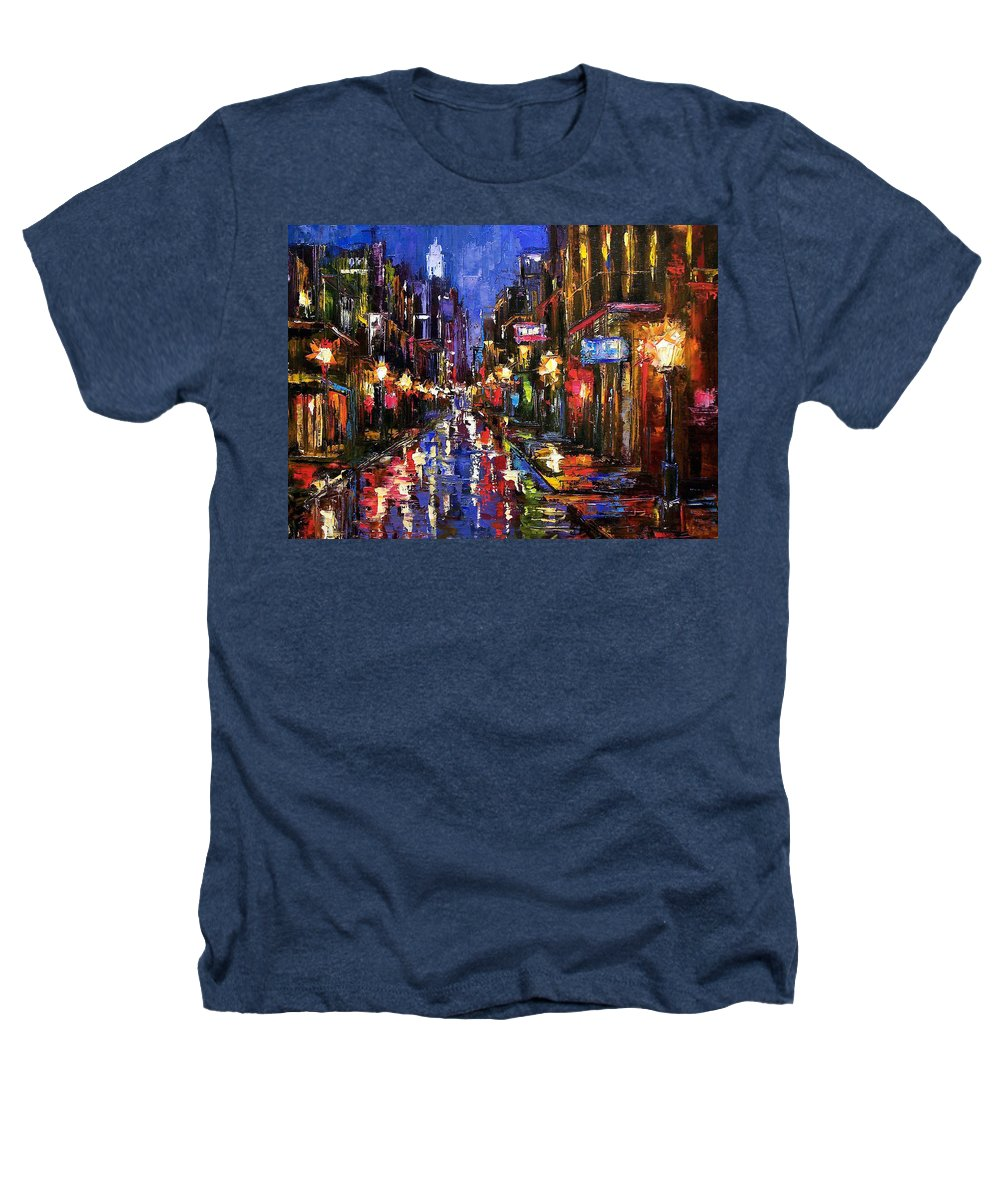 Cityscape Heathers T-Shirt featuring the painting New Orleans Storm by Debra Hurd