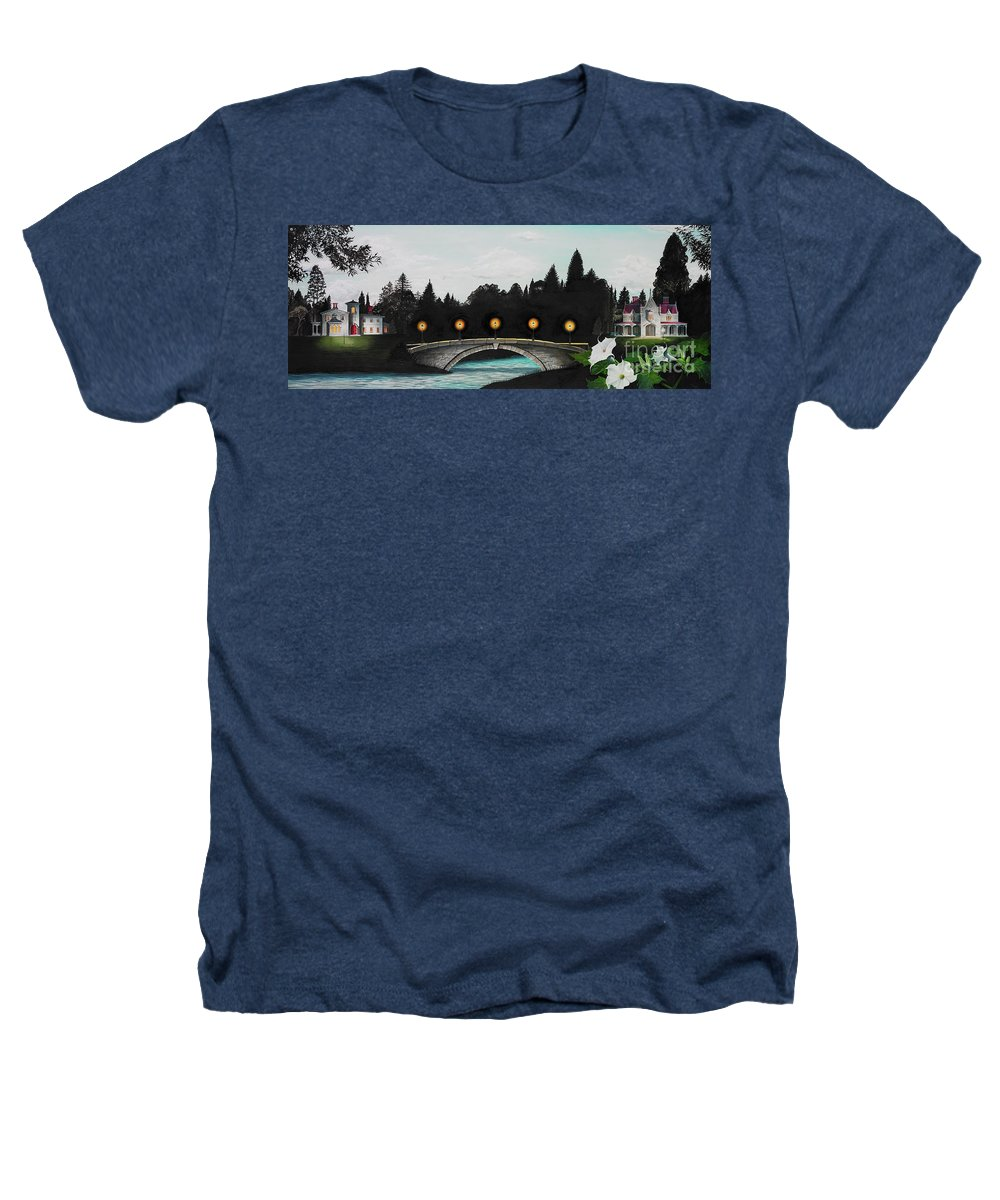 Architecture Heathers T-Shirt featuring the painting Night Bridge by Melissa A Benson