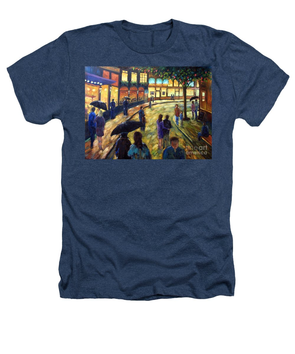 Cityscape Heathers T-Shirt featuring the painting Night On The Town by Richard T Pranke
