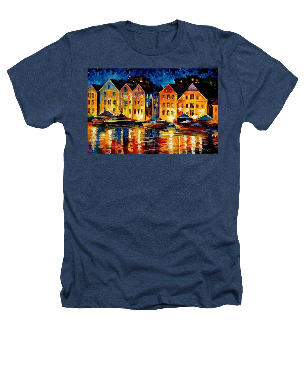 City Heathers T-Shirt featuring the painting Night Resting Original Oil Painting by Leonid Afremov