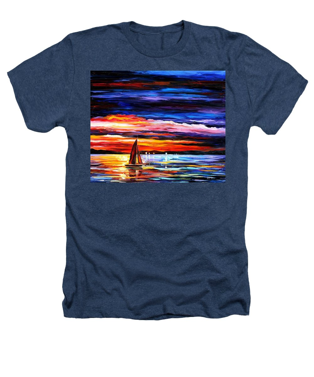 Seascape Heathers T-Shirt featuring the painting Night Sea by Leonid Afremov
