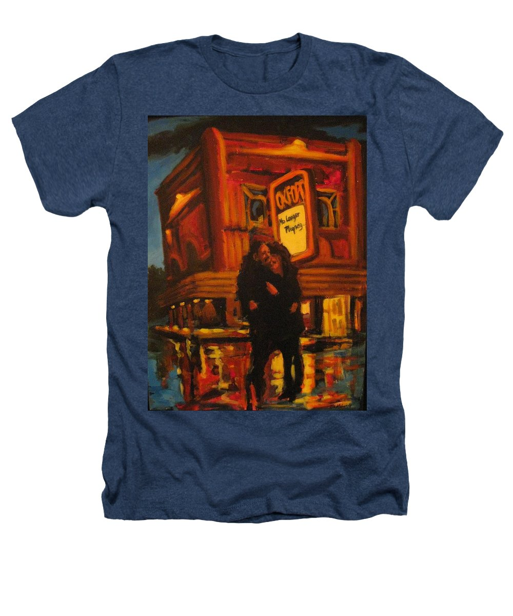 Wet Streets Heathers T-Shirt featuring the painting No Longer Playing by John Malone