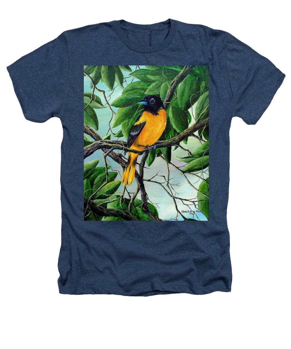 Oriole Heathers T-Shirt featuring the painting Northern Oriole by David G Paul