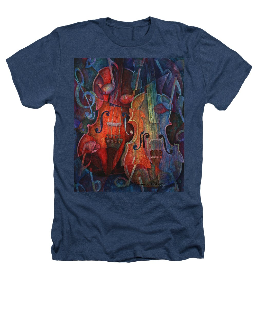 Susanne Clark Heathers T-Shirt featuring the painting Noteworthy - A Viola Duo by Susanne Clark