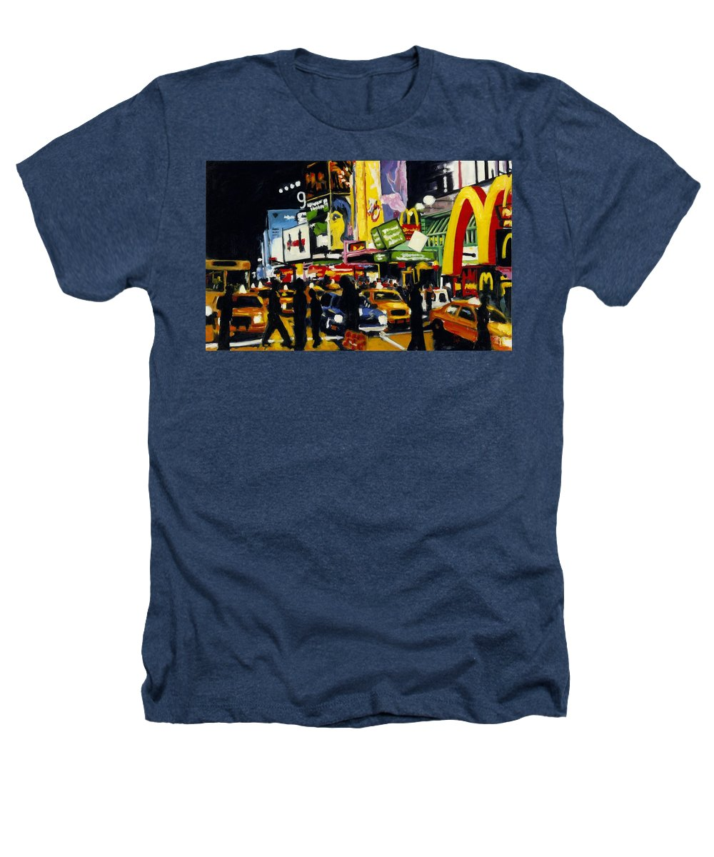 New York Heathers T-Shirt featuring the painting Nyc II The Temple Of M by Robert Reeves