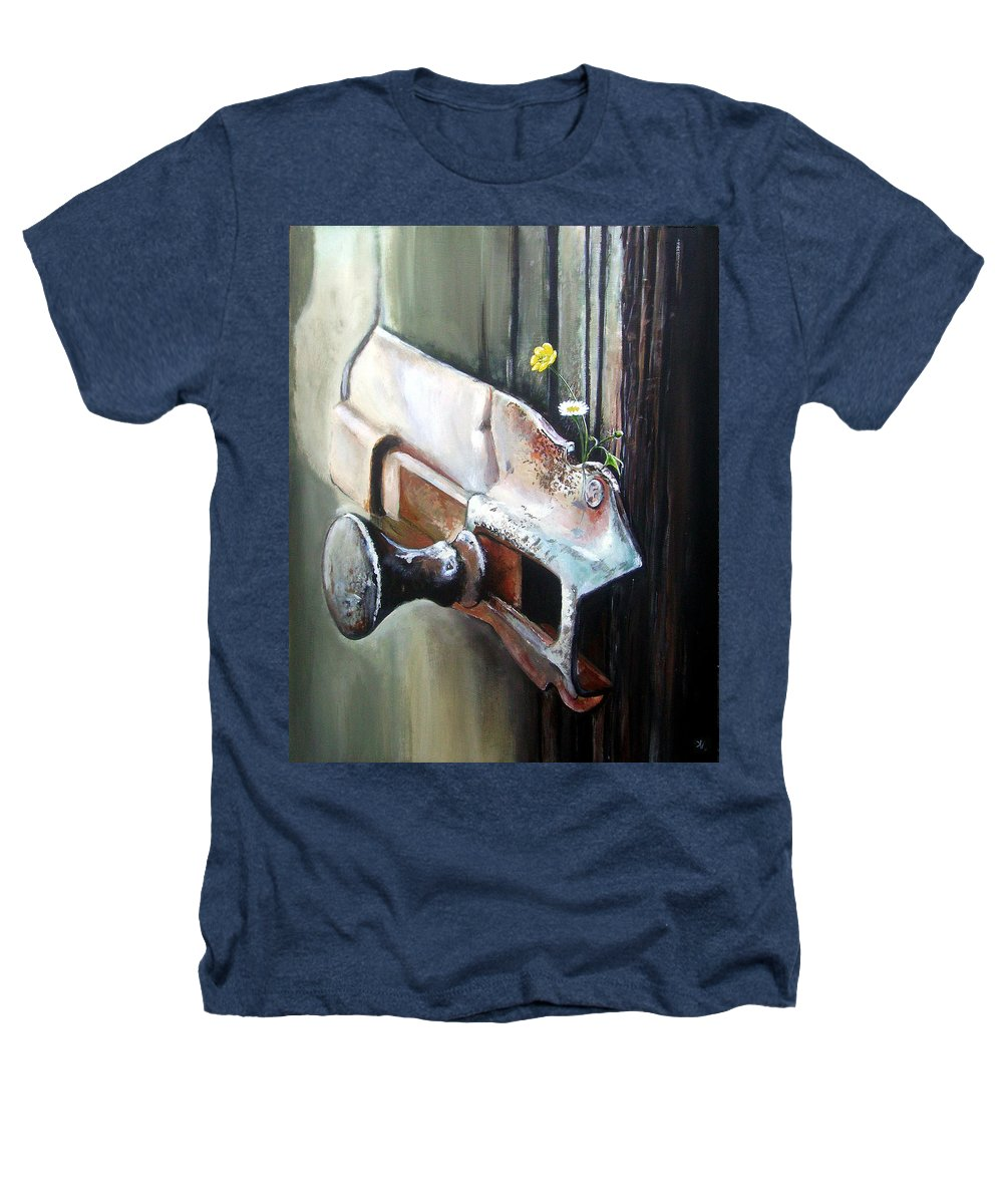 Rusty Old Flowers Buttercup Dasiy Green Wood Heathers T-Shirt featuring the painting Old And Rusty by Arie Van der Wijst