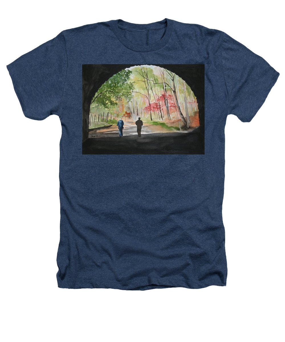 Road Heathers T-Shirt featuring the painting On The Road To Nowhere by Jean Blackmer