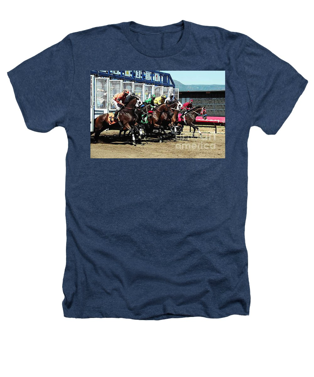Horse Heathers T-Shirt featuring the photograph Only A Mile To Go by Kathy McClure