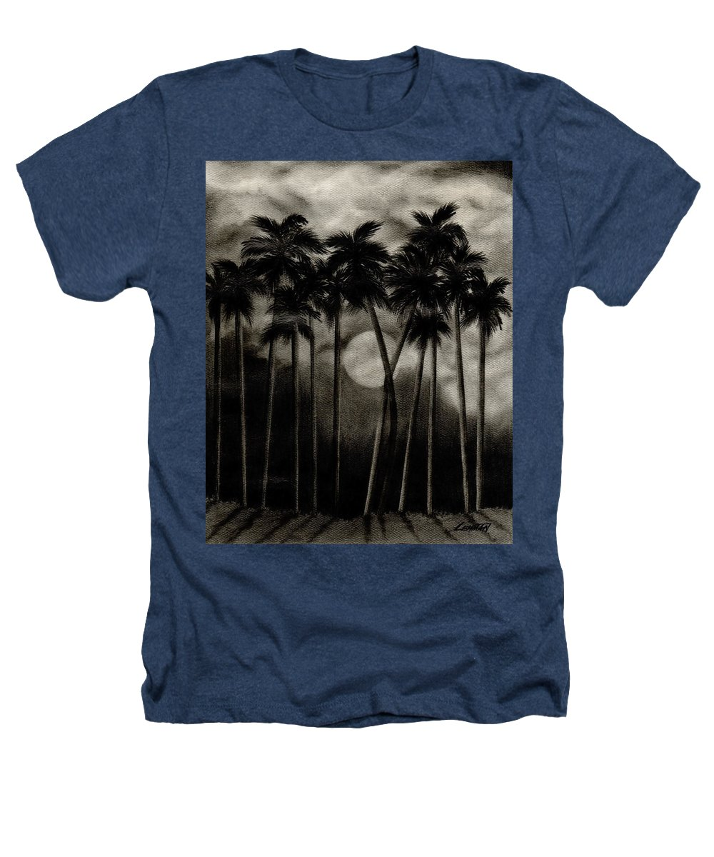 Original Moonlit Palm Trees Heathers T-Shirt featuring the drawing Original Moonlit Palm Trees by Larry Lehman