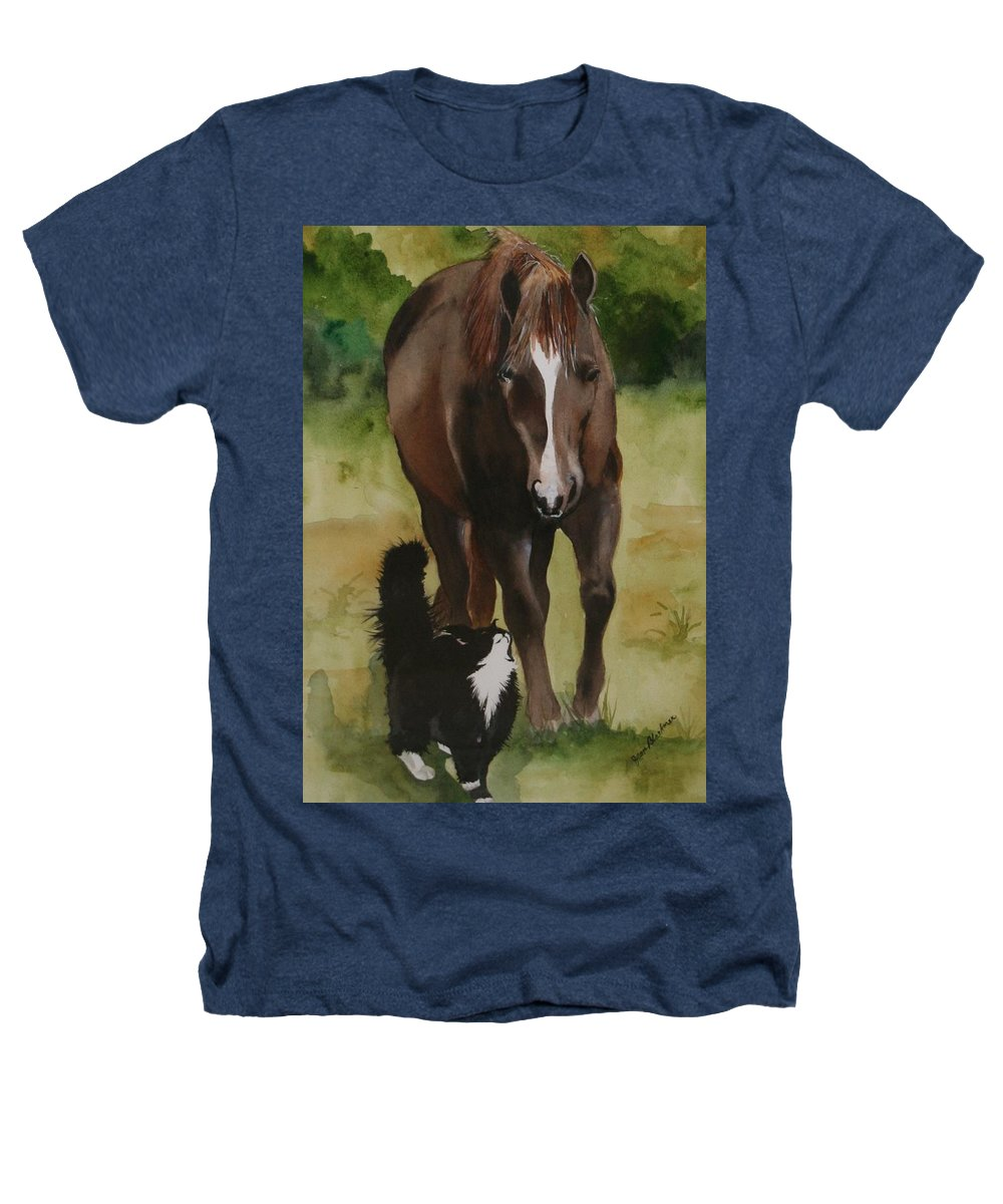 Horse Heathers T-Shirt featuring the painting Oscar And Friend by Jean Blackmer