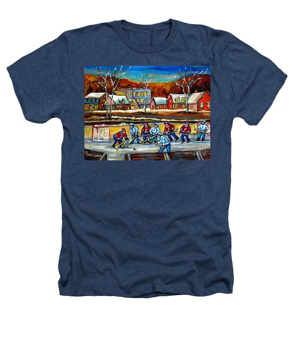 Country Hockey Rink Heathers T-Shirt featuring the painting Outdoor Hockey Rink by Carole Spandau