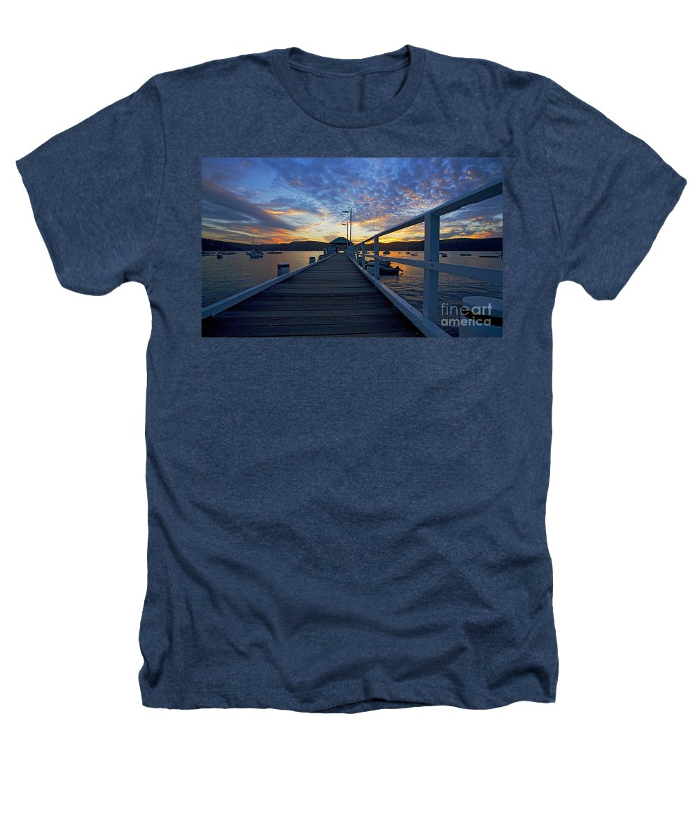 Palm Beach Sydney Wharf Sunset Dusk Water Pittwater Heathers T-Shirt featuring the photograph Palm Beach Wharf At Dusk by Avalon Fine Art Photography