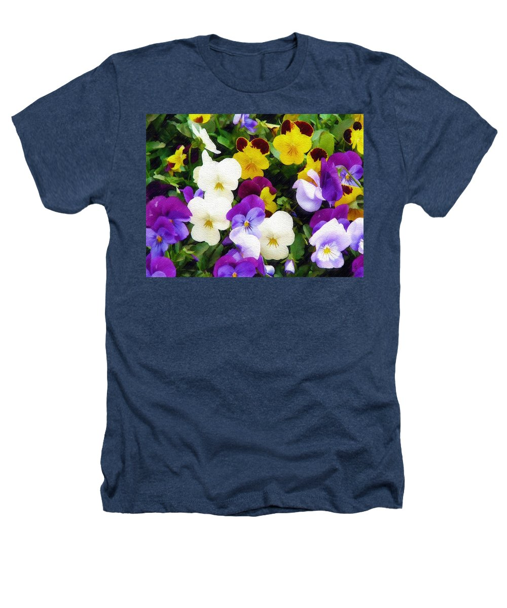 Pansies Heathers T-Shirt featuring the photograph Pansies by Sandy MacGowan