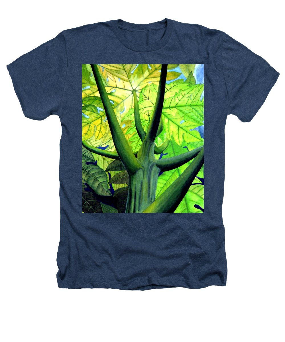 Papaya Tree Heathers T-Shirt featuring the painting Papaya Tree by Kevin Smith