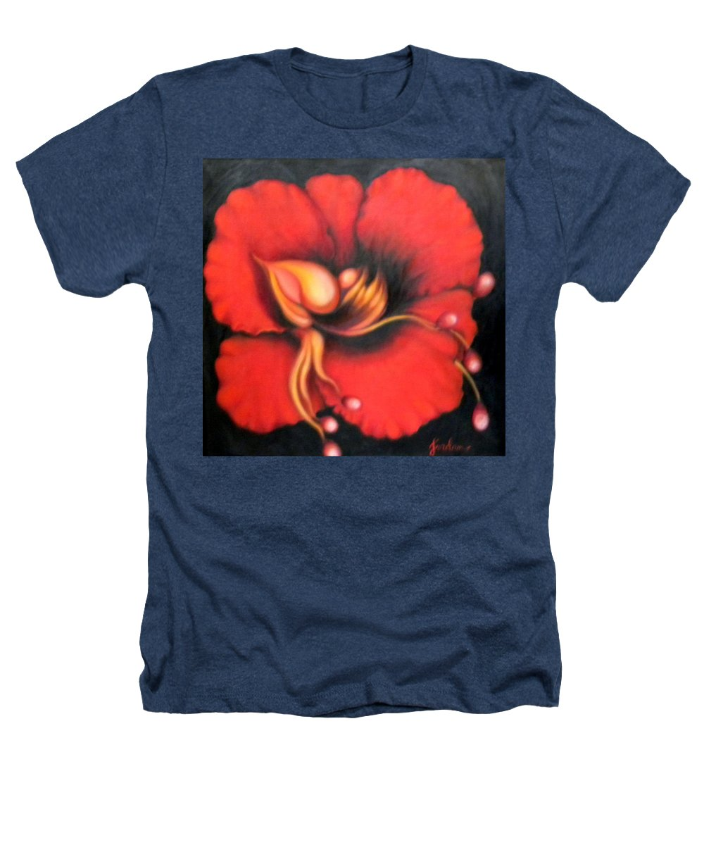 Red Surreal Bloom Artwork Heathers T-Shirt featuring the painting Passion Flower by Jordana Sands