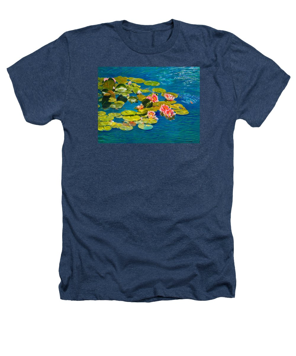 Water Lilies Heathers T-Shirt featuring the painting Peaceful Belonging by Michael Durst