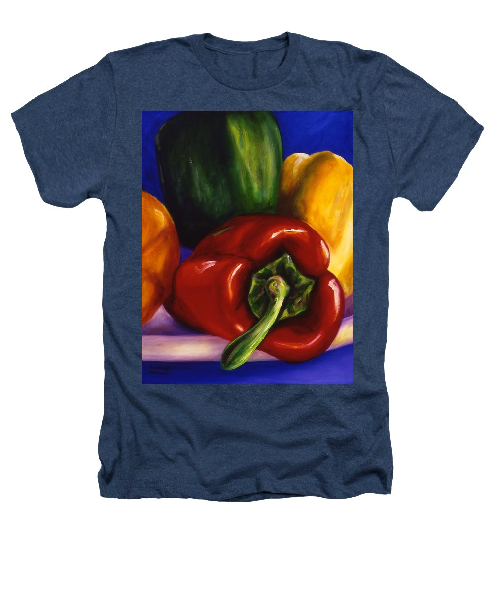 Still Life Heathers T-Shirt featuring the painting Peppers On Peppers by Shannon Grissom