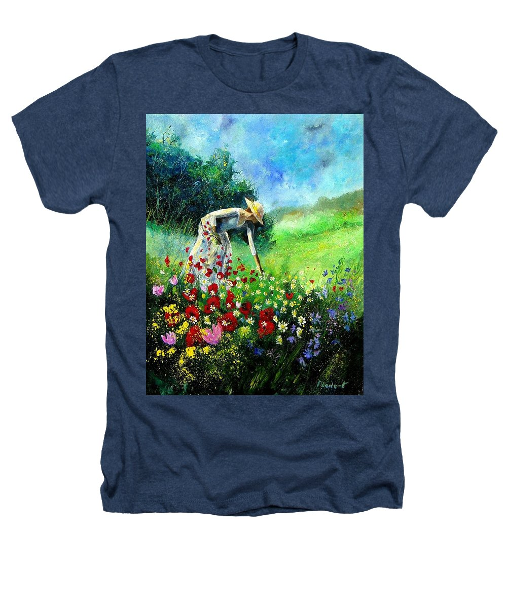 Poppies Heathers T-Shirt featuring the painting Picking Flower by Pol Ledent