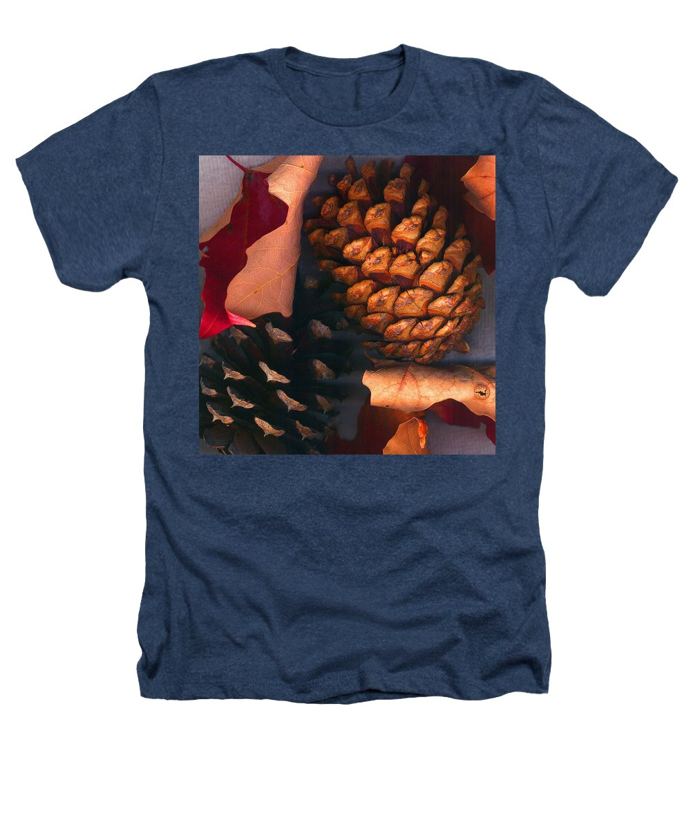 Pine Cones Heathers T-Shirt featuring the photograph Pine Cones And Leaves by Nancy Mueller