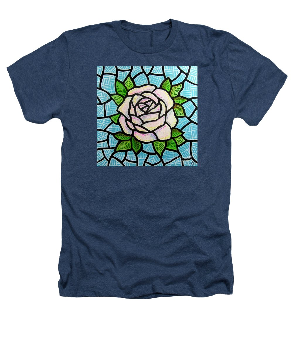 Rose Heathers T-Shirt featuring the painting Pinkish Rose by Jim Harris