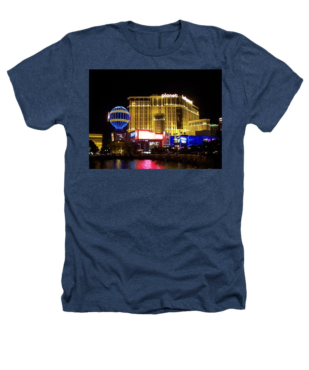 Vegas Heathers T-Shirt featuring the photograph Planet Hollywood By Night by Anita Burgermeister