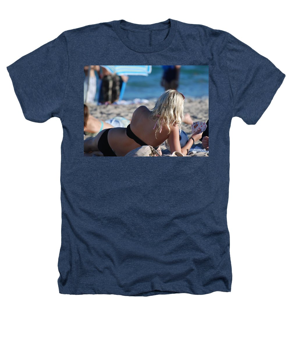 Cards Heathers T-Shirt featuring the photograph Poker At The Beach by Rob Hans