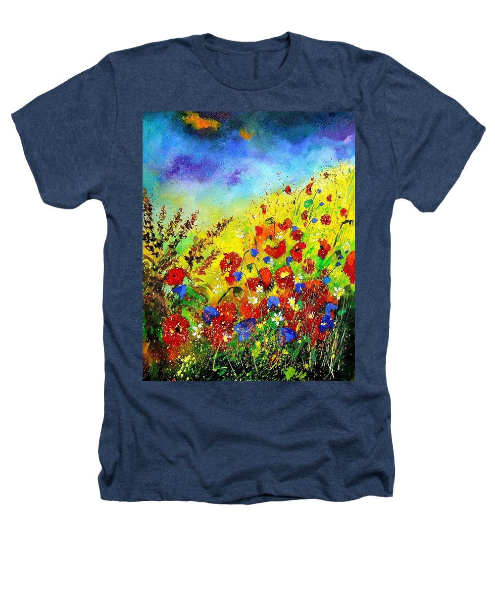 Poppies Heathers T-Shirt featuring the print Poppies And Blue Bells by Pol Ledent
