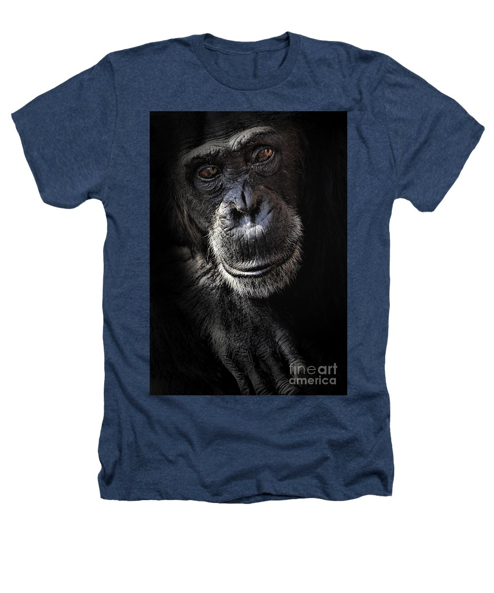 Chimp Heathers T-Shirt featuring the photograph Portrait Of A Chimpanzee by Avalon Fine Art Photography
