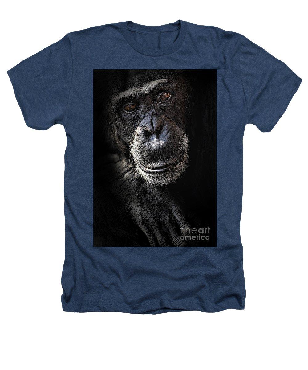 Chimp Heathers T-Shirt featuring the photograph Portrait Of A Chimpanzee by Sheila Smart Fine Art Photography