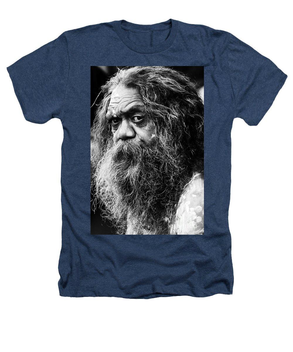 Aborigine Aboriginal Australian Heathers T-Shirt featuring the photograph Portrait Of An Australian Aborigine by Sheila Smart Fine Art Photography