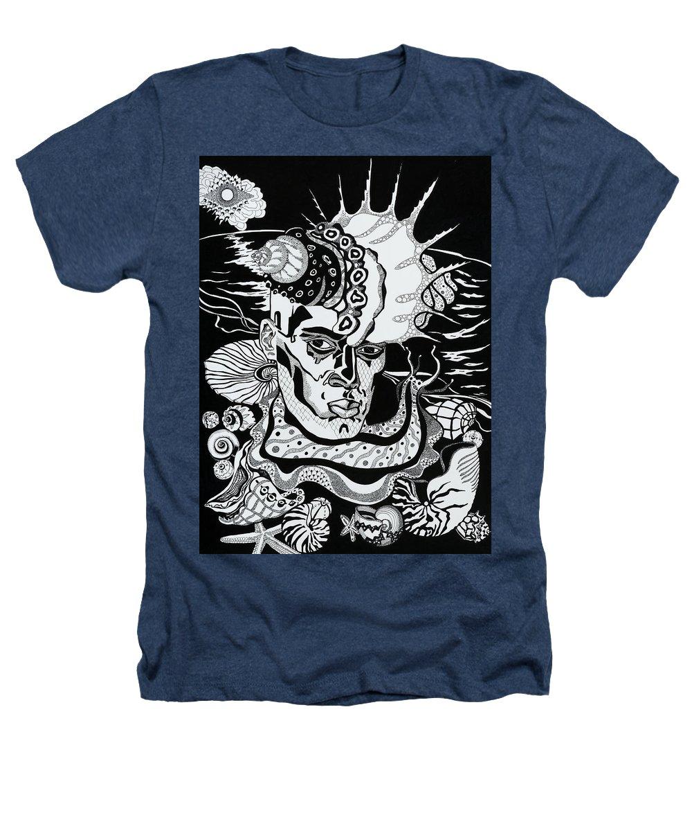 Surreal Heathers T-Shirt featuring the drawing Poseidon by Yelena Tylkina
