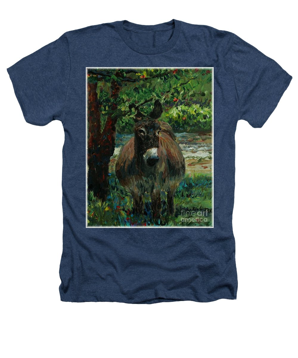 Donkey Heathers T-Shirt featuring the painting Provence Donkey by Nadine Rippelmeyer