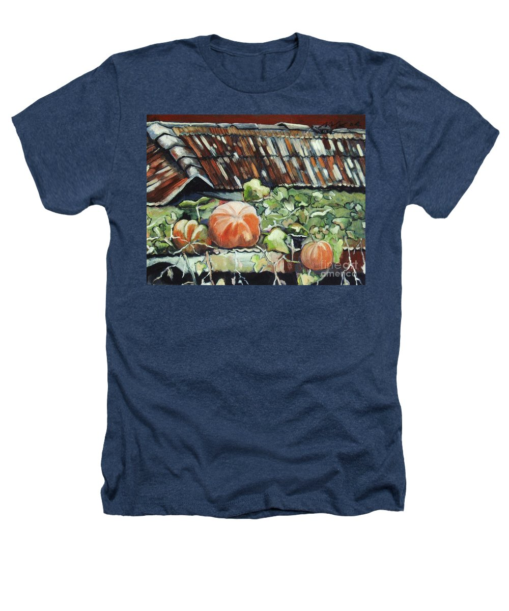 Pumpkin Paintings Heathers T-Shirt featuring the painting Pumpkins On Roof by Seon-Jeong Kim