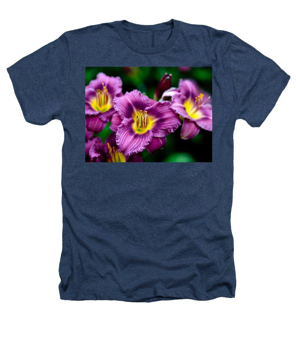 Flower Heathers T-Shirt featuring the photograph Purple Day Lillies by Marilyn Hunt