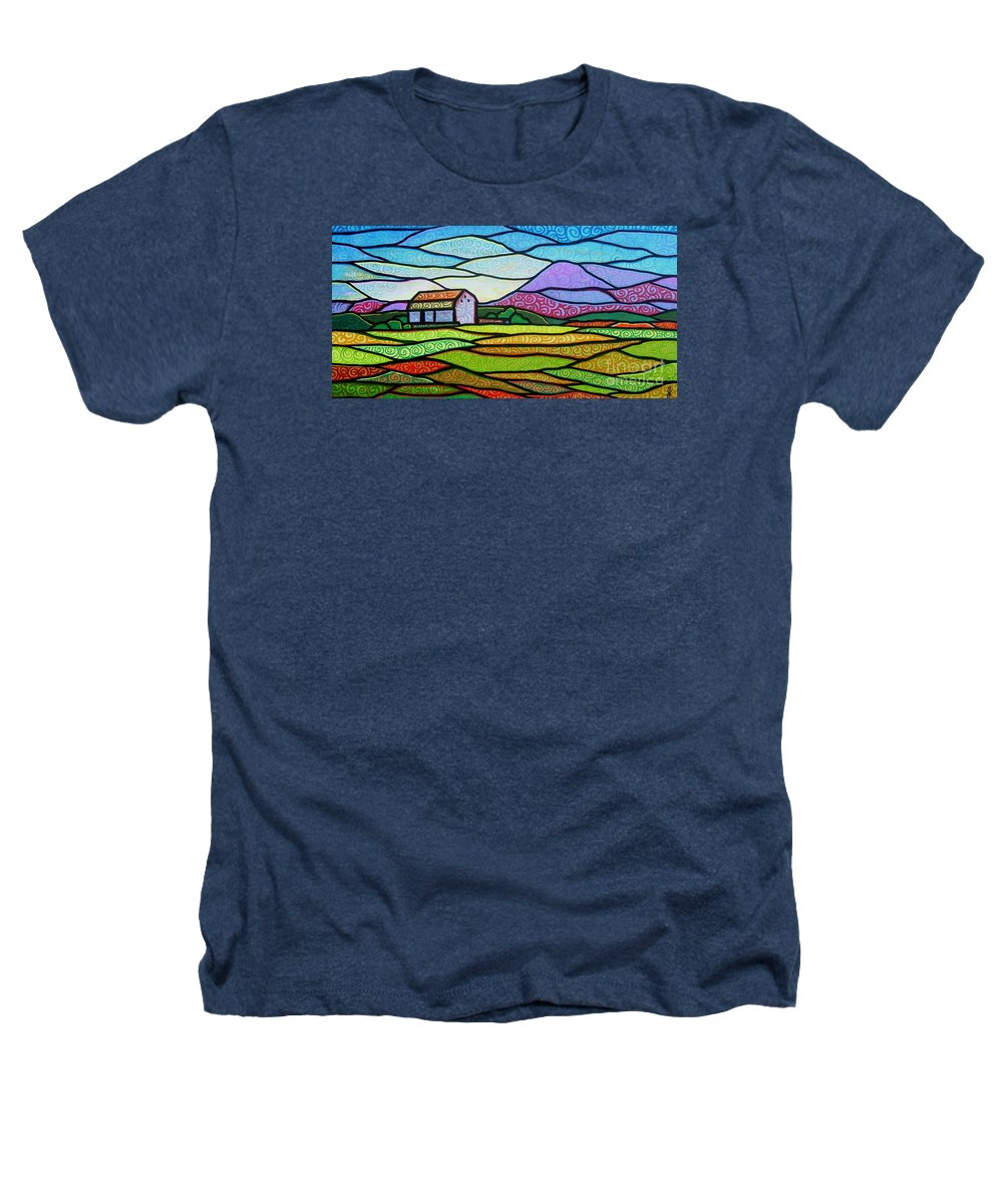 Mountains Heathers T-Shirt featuring the painting Purple Mountain Majesty by Jim Harris
