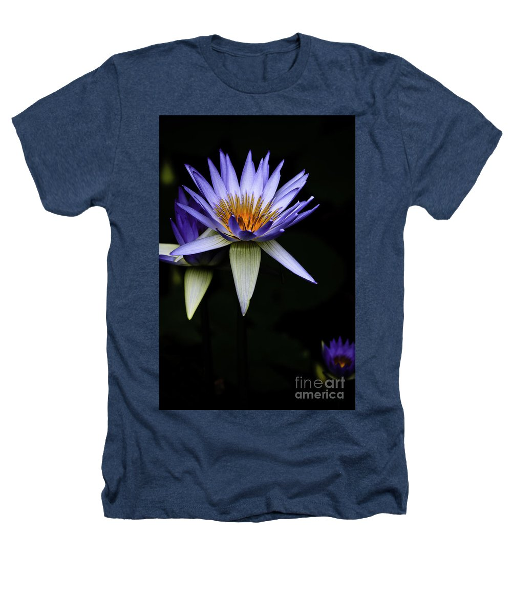 Purple Waterlily Water Lily Flower Flora Heathers T-Shirt featuring the photograph Purple Waterlily by Sheila Smart Fine Art Photography