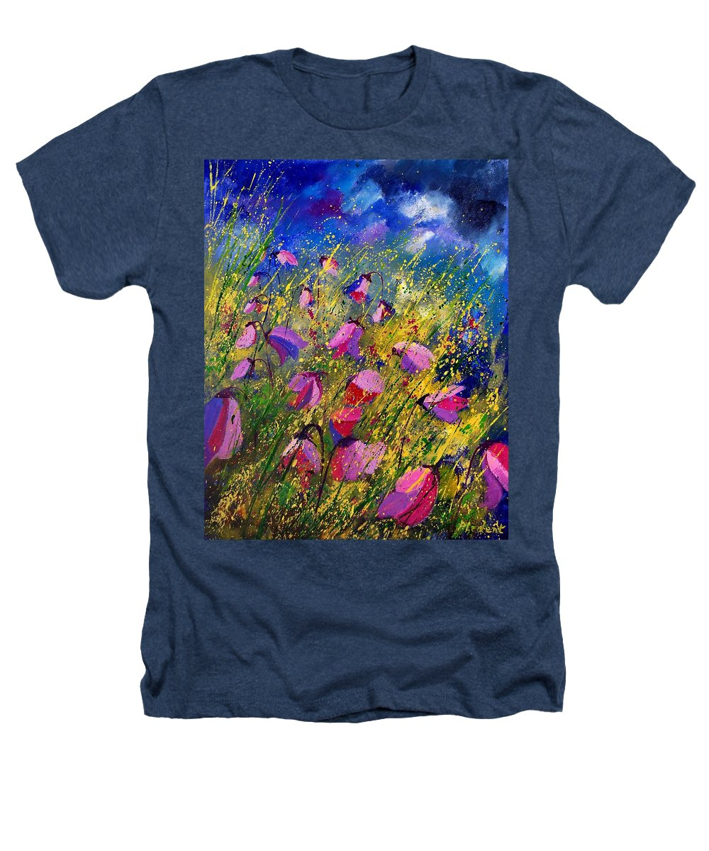 Poppies Heathers T-Shirt featuring the painting Purple Wild Flowers by Pol Ledent
