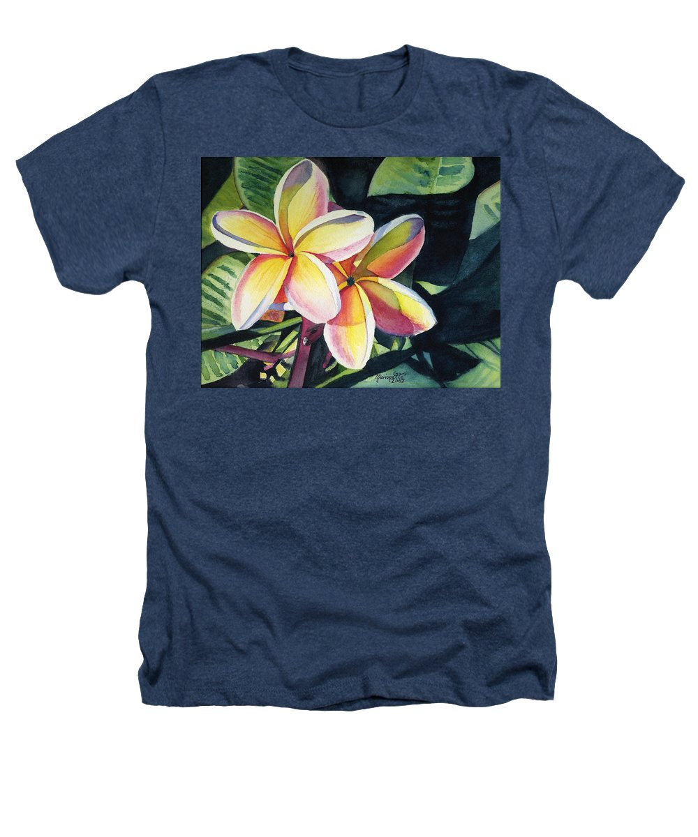 Rainbow Heathers T-Shirt featuring the painting Rainbow Plumeria by Marionette Taboniar