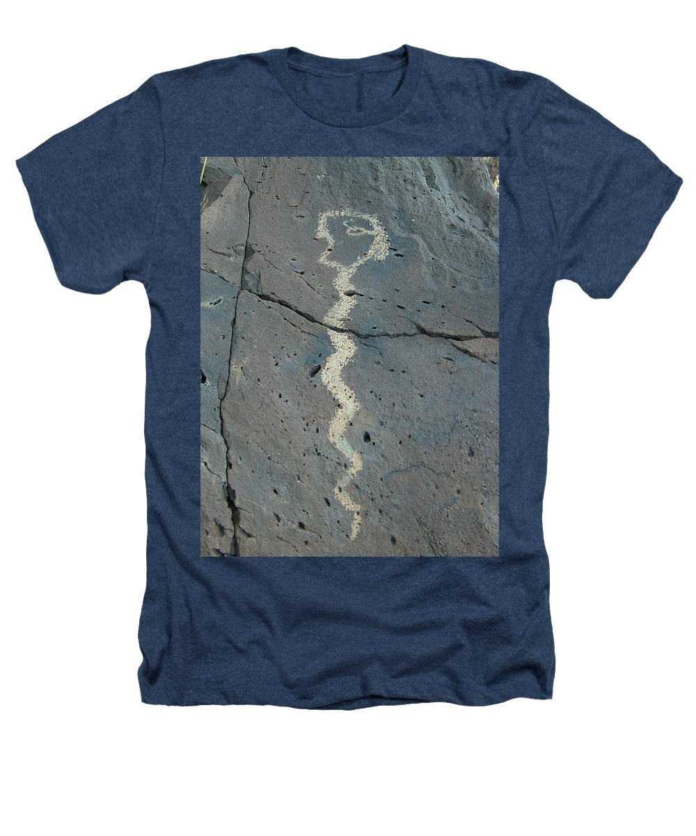 Rattlesnake Heathers T-Shirt featuring the photograph Rattlesnake Petroglyph 2 by Tim McCarthy