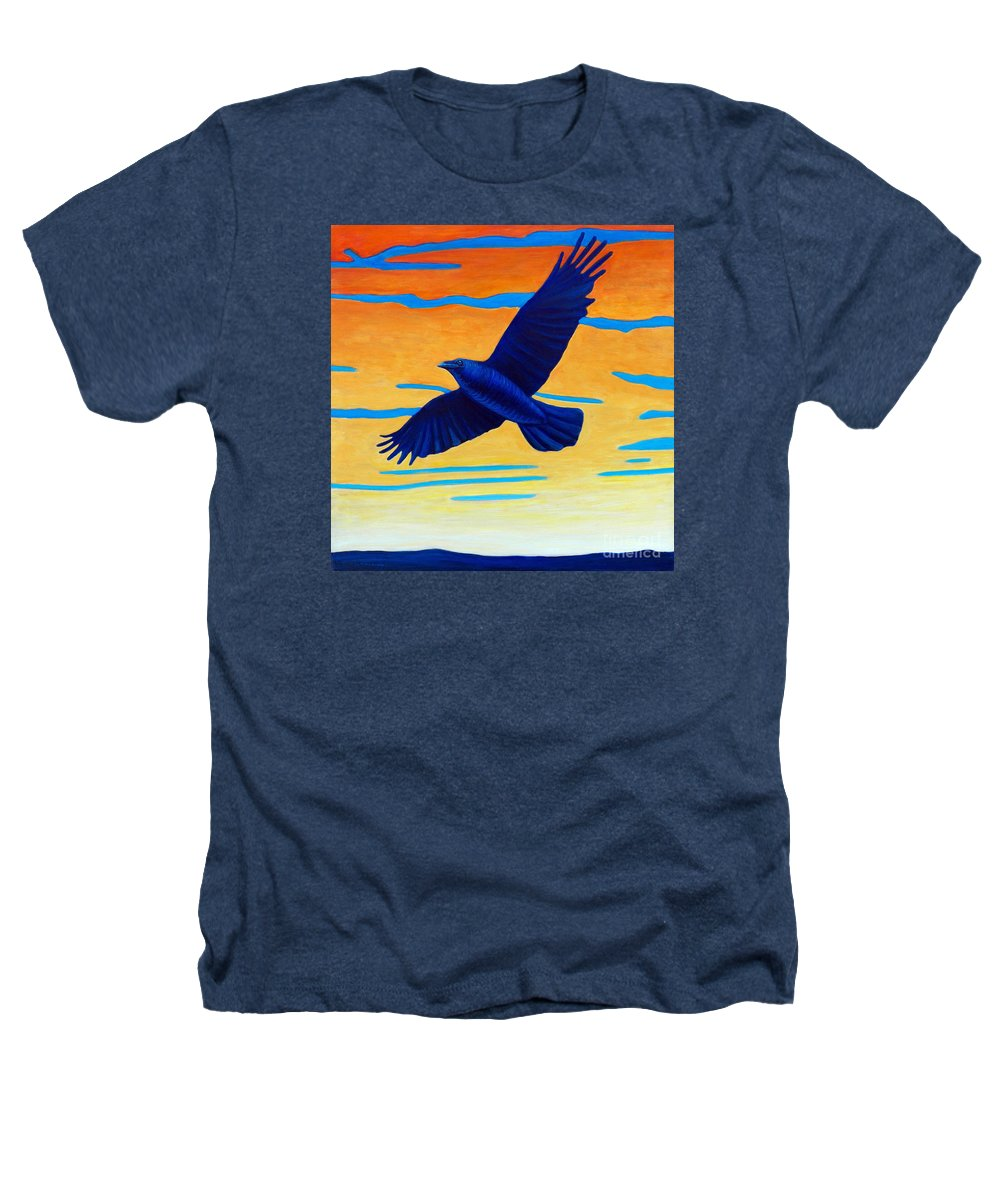Raven Heathers T-Shirt featuring the painting Raven Rising by Brian Commerford