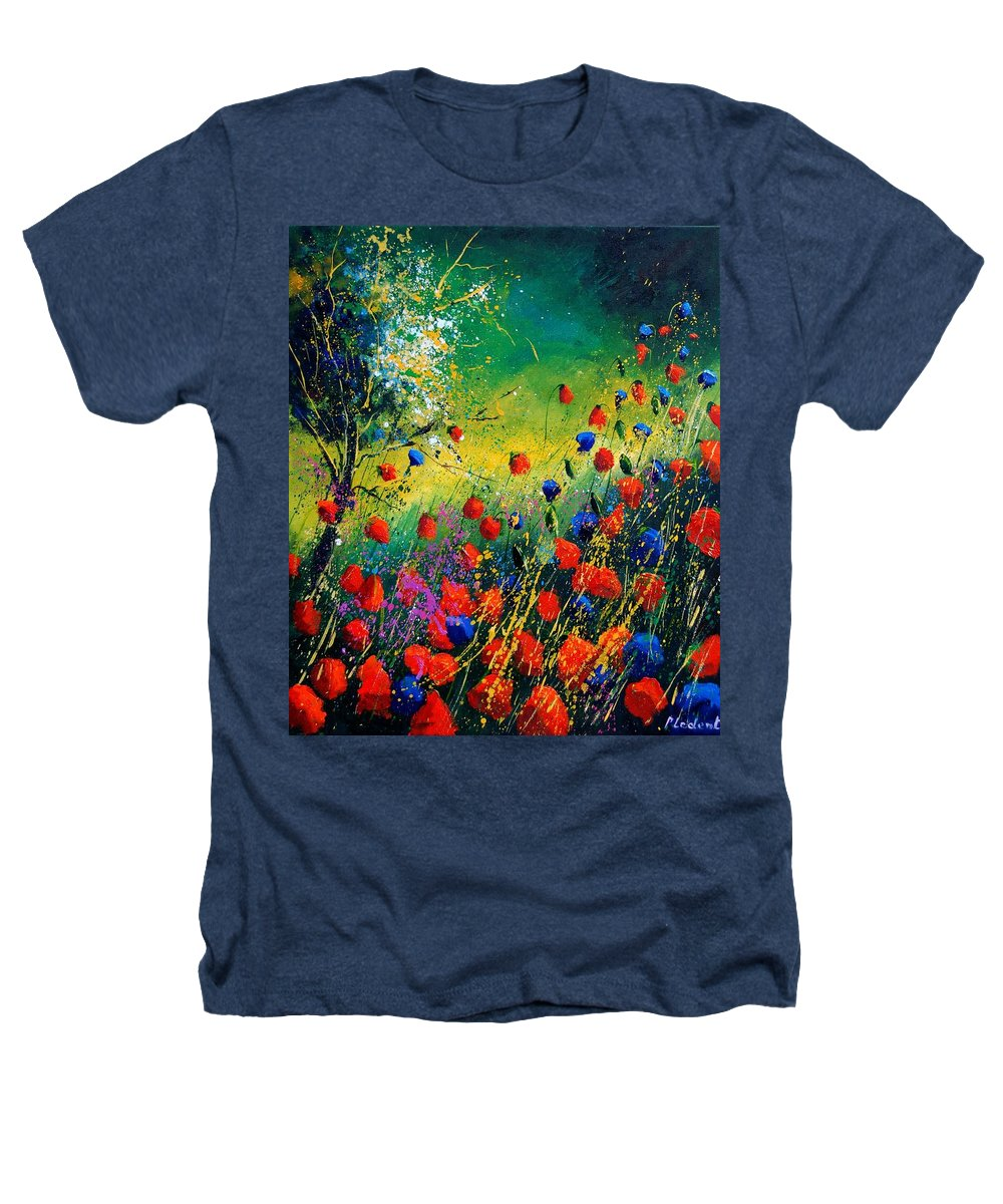 Flowers Heathers T-Shirt featuring the painting Red And Blue Poppies by Pol Ledent